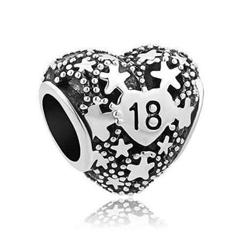 Silver 18th Birthday Love Heart Charm With Stars