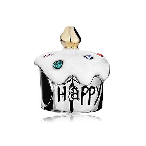 happy birthda cake charm with gold candle and crystals