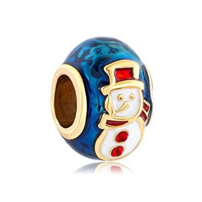 Gold & Blue Snowman Christmas Bead