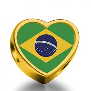 Gold 2014 World Cup Heart Charm