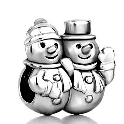 Silver Snowman Couple Charm
