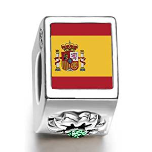 Spain Flag Charm with Flower Motif
