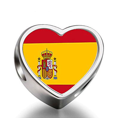 Spain Flag Silver Heart Charm
