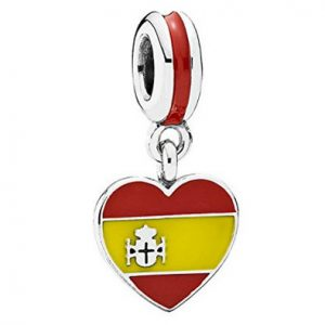 Spanish Flag Heart Dangle Charm