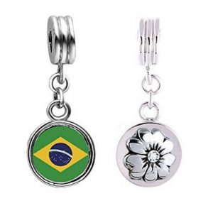 Brazil World Cup Logo Dangle Charm With Flower