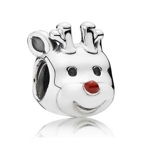 Silver Xmas Reindeer Charm