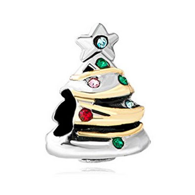 Silver Christmas Tree Charm with Coloured Crystals