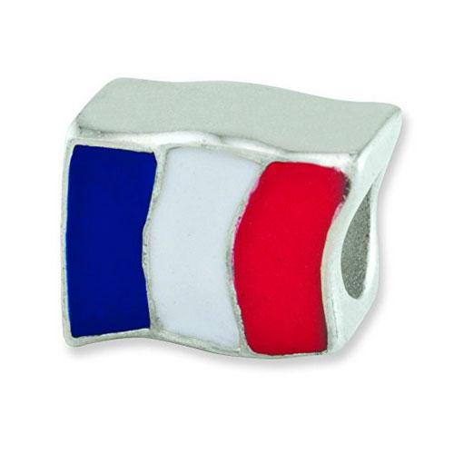 Silver France Flag Bead