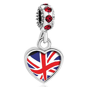 stylized UK flag heart charm with crystals
