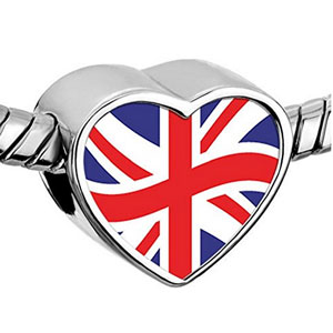 Union Jack Heart Bead
