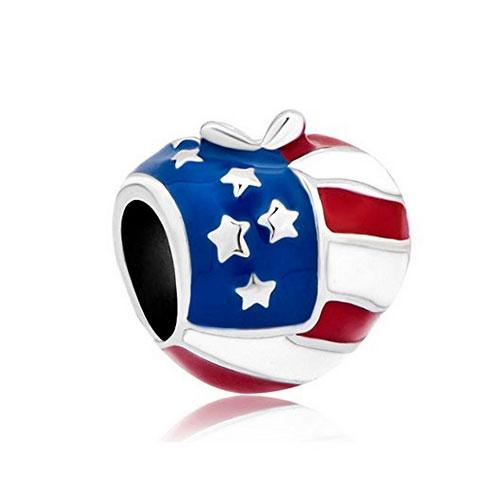 Big Apple USA flag charm