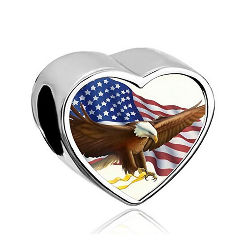 Silver heart with eagle and USA flag