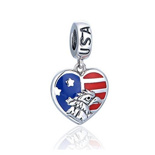 Usa Silver Heart Flag With Eagle Pandora Compatible
