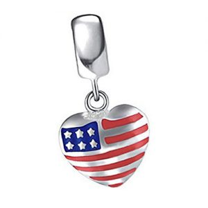 USA heart drop flag charm