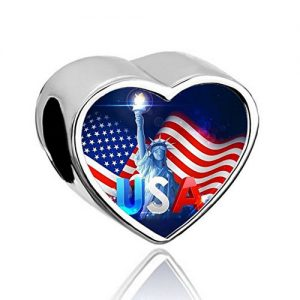 USA heart shape silver flag with Statue of Liberty