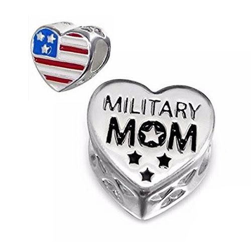 USA Military Mom Charm Bead