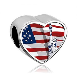 Statue of Liberty Silver Heart Bead