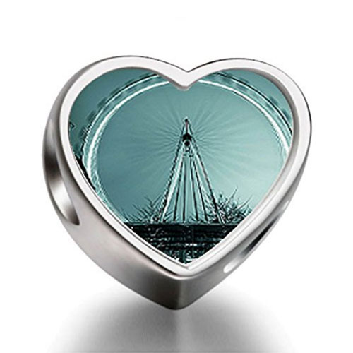 London Eye Silver Heart Charm