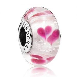 Pink Hearts in White Murano Glass Official Pandora Bead