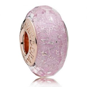 pink Murano Glass Bead on Rose