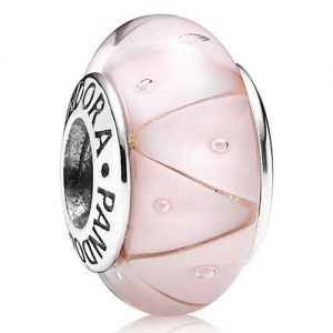 Pink and Silver Murano Glass Bead