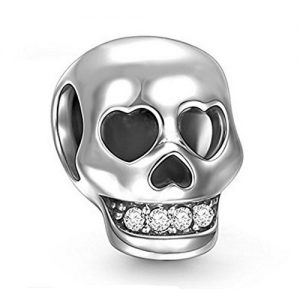 Sterling Silver SKull Bead for Halloween