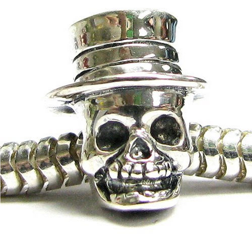 Silver Skull With Top Hat