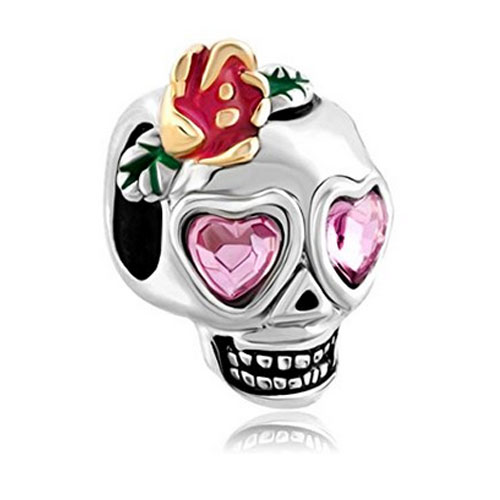 Skull with Love Heart Eyes Bead, perfect for Halloween