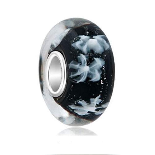 Black Glass Snowflakes Charm Bead