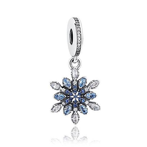 Blue Crystal Snowflake Charm