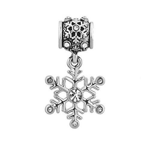 White Christmas Snowflake Charm