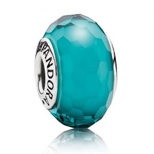 Pandora Glass Charms: Faceted Teal Glass Charm