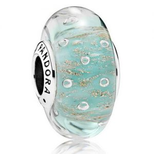 Pandora Glass Charms: mint Glitter Charm