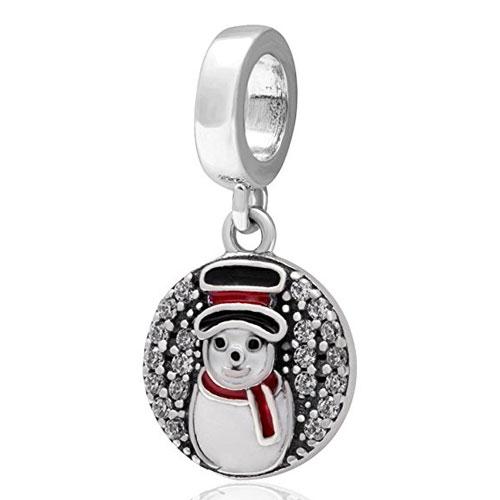 Silver Snowman Pendant Charm with Cubic Zirconiasnowman-pendant