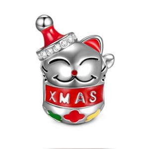 Xmas Cat Charm in Silver and coloured enamel