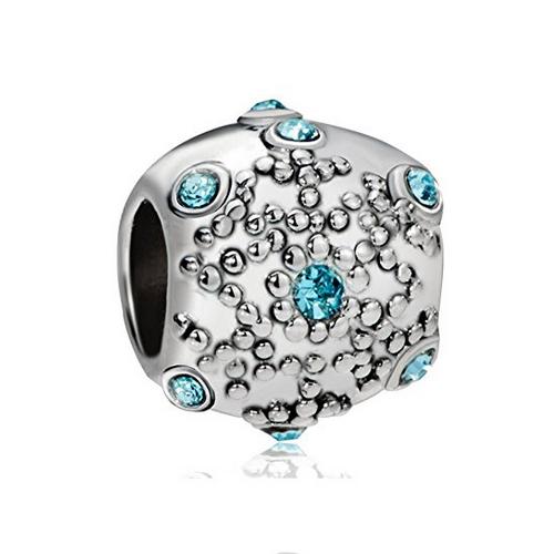 d632efecb ... Pandora Compatible Snowflake Charms / Raised Snowflake Charm Bead with Blue  Crystals. Raised Snowflake Bead