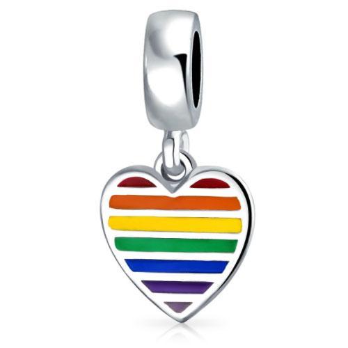 Rainbow Heart Valentines Charm