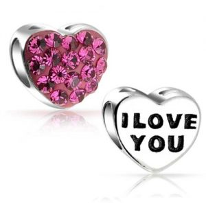 Swarovski Crystal I Love You Charm